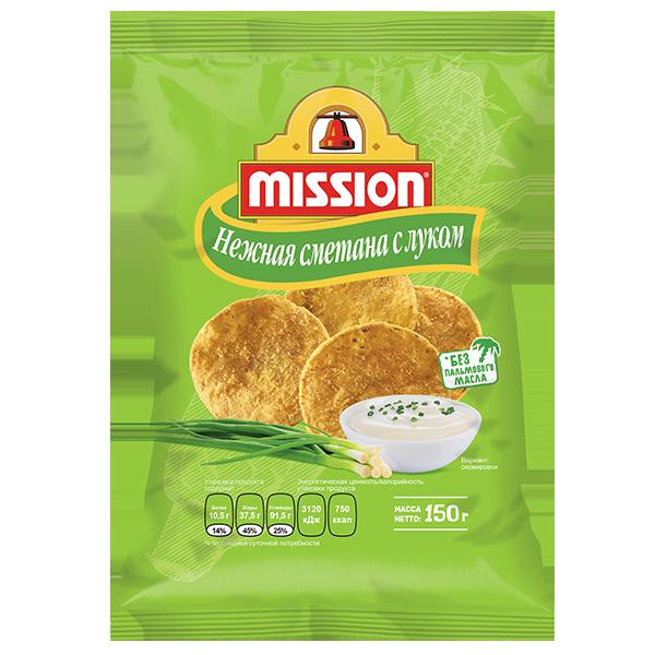 Кукурузные чипсы MISSION cо вкусом Нежная сметана с луком